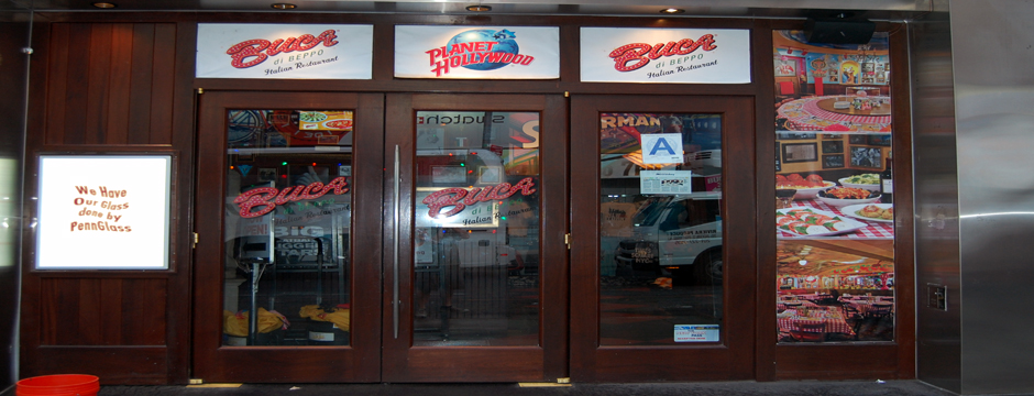 Planet Hollywood Wood Storefront